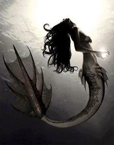 Dressed in blue. Siren Tattoo, Storm Tattoo, Mermaid Tattoos, Mythological Creatures, Fantasy Creatures, Mythical Creatures, Real Mermaids, Mermaids And Mermen, Siren Mermaid