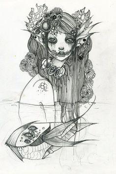 Original mermaid A4 pencil drawing by lalasdreambox on Etsy, £110.00 (looooove her work!)