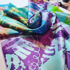 hot wax batik hand painted. silk scarf 56x56 cm