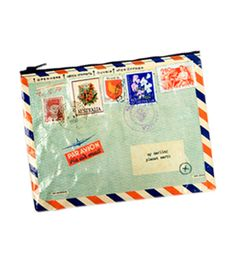 Fred Flare Airmail Pouch, $9, #dailyfinds...perfect cosmetic bag!