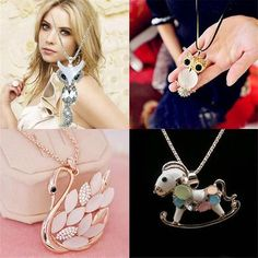 Korea Hot sale Innocence Small Horse and Owl Crystal Sweater Chain Cute Long Necklace for Woman Gift