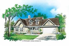 Eplans Country House Plan - Entertaining In Comfort - 1346 Square Feet and 3 Bedrooms from Eplans - House Plan Code HWEPL07003