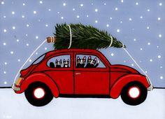 Red VW Bug Christmas Cats Original Folk Art Painting