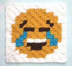 Tears of Joy Emoji C2C Crochet Square and Pixel Graph   Repeat Crafter Me   Bloglovin' Graph Crochet, C2c Crochet, Crochet Quilt, Crochet Squares, Crochet Hooks, Crochet Afghans, Granny Squares, Kiss Emoji, Knitting Patterns