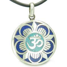 Amulet Ancient OM and Magic Lotus Tibetan Symbol Mosaic Medallion Pendant on Leather Cord Necklace