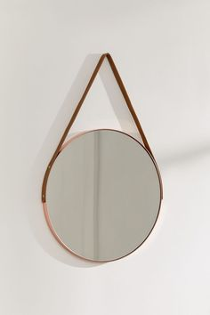 Carson Leather Strap Mirror | Urban Outfitters Round Brass Mirror, Small Round Mirrors, Rope Mirror, Mirrors Urban Outfitters, Urban Outfitters Room, Mirror Over Bed, Mirrors With Leather Straps, Crystal Mobile, Meditation Room Decor