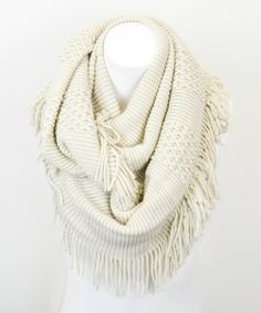 Take a look at this Leto Collection Oatmeal Fringe Infinity Scarf on zulily today!