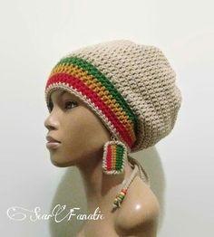 1eb64440f46 Tan   Beige Slouch Hat  dreadlock hat with Rasta by ScarFanatic Crochet  Adult Hat