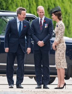 Prince William, Duke of Cambridge and Catherine, Duchess of Cambridge with David Cameron attend a Commemoration of the Centenary of the Battle of the Somme at The Commonwealth War Graves Commission Thiepval Memorial on July 01, 2016 in Thiepval, France.