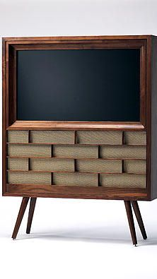 retro TV cabinets for flat screens! Compatible with LCD and plasma sets, the 42-inch screen model, shown here, sells for $3,600, and the larger 50-inch version is $3,950. Made-...