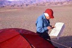 Helen Thayer traversing the desert.