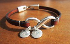 PERSONALIZED INFINITY BRACELET unisex women leather bracelet with silver infinity  bracelet personalized initials charms by kekugi on Etsy https://www.etsy.com/listing/221706053/personalized-infinity-bracelet-unisex