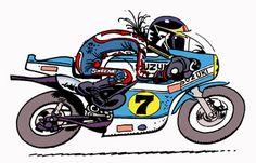 JoeBar Motorcycle Racers, Motorcycle Art, Bike Art, Grand Prix, Joes Bar, Decoupage Printables, Motogp, Cool Bikes, Illustration