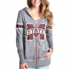 Mississippi State Bulldogs Women's Tunic Full Zip Hoodie - Ash