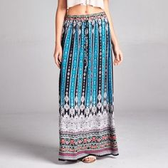 Print skirt w/ waist band (draw string in front) Material is 100% rayon Skirts