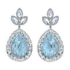 Irene Neuwirth Fine Aquamarine, Moonstone & Diamond Earrings at Barneys.com