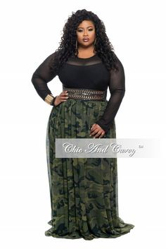 New Plus Size Long Chiffon Skirt with Tie in Camouflage (Camo) Print – Chic And Curvy Look Plus Size, Plus Size Jeans, Plus Size Fashion For Women, Plus Size Women, Plus Size Dresses, Plus Size Outfits, Plus Sise, Long Chiffon Skirt, Mode Plus