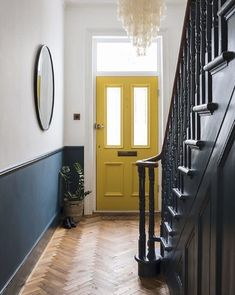 Imperfect interiors beth dadswell interior garden designer dulwich living hallway beth dadswell designer dulwich garden hallway imperfect interior interiors living 55 scandinavian hallway to work on today Style At Home, Interior Garden, Interior Design Kitchen, Color Interior, Yellow Interior, Entryway Stairs, Front Stairs, Stairs Kitchen, Front Hallway
