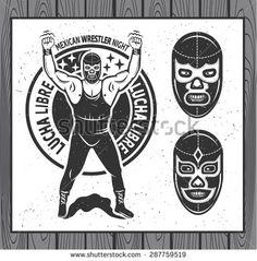 Mexican wrestler set. Lucha Libre. Vector illustration - stock vector