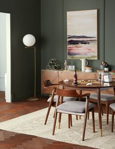If you are looking for Luxurious Small Dining Room Decorating Ideas, You come to the right place. Below are the Luxurious Small Dining Room De. Mid Century Modern Dining Room, Modern Dining Chairs, Round Dining Table, Walnut Dining Table, Mid Century Dining Table, Small Dining, Chairs For Dining Table, Patterned Dining Chairs, Dining Table In Living Room