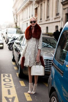 Lace and Red : detailed lace jacket with red fur accents and matching lace booties