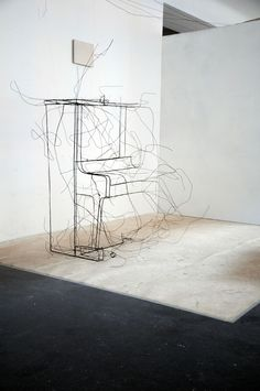 """Fritz Panzer's 3D black wire """"drawing"""" - Piano (2010)"""