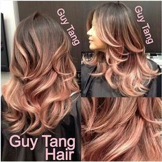 rose gold highlights brown hair - Google Search