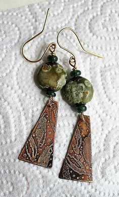 Agate and etched copper