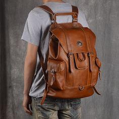 Leather Backpack For Men, Travel Backpack, School Backpack - EchoPurse Leather Backpack For Men, Leather Laptop Bag, Leather Men, Leather Bags, Laptop Bags, Vintage Leather, Backpack For Teens, Men's Backpack, Cool Backpacks