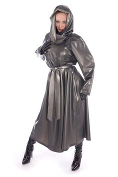 Our Bestseller in our Mackintosh range with attached drawstring hood. Double breasted mackintosh Military style with front and back yokes .Attached drawstring hood Pockets, belt wrist straps and Length This coat is shown in colour black Pvc Raincoat, Plastic Raincoat, Fetish Fashion, Latex Fashion, Mode Latex, Rubber Dress, Rubber Raincoats, Long Leather Coat, Langer Mantel