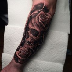 Beautiful skull with rose tattoo - 100 Awesome Skull Tattoo Designs <3 <3