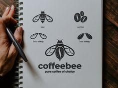 coffee bee by Garagephic Studio on Dribbble Logo Desing, Best Logo Design, Branding Design, Business Logo Design, Logo Minimalista, Logo Sketches, Grafik Design, Graphic Design Inspiration, Creative Instagram Photo Ideas