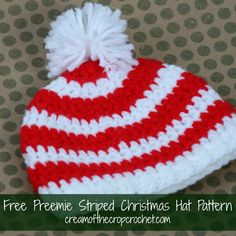 Cream Of The Crop Crochet ~ Preemie/Newborn Striped Christmas Hats {Free Crochet Pattern}