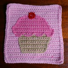 This Cupcake Square Was Crocheted Using Our Free Crochet Cupcake Pattern.