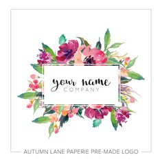 This listing is for a customizable pre-made Baby Fox Floral Logo I76. Put your company's name on it today!