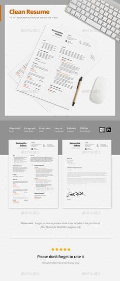 Blue and Black Resume (2 Skins) Clean design - clean resume design