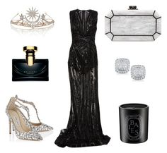 """""""Princess for tonight"""" by vashionista on Polyvore featuring Zuhair Murad, Jimmy Choo, Edie Parker, Diptyque, Bulgari and Dana Rebecca Designs"""