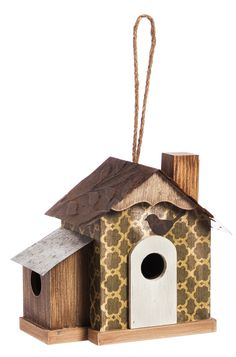 "Features:  -Material: Wood.  Animal Type: -Bird.  Birdhouse Design: -Hanging.  Birdhouse Style: -Cottage.  Color: -Brown.  Material: -Wood. Dimensions:  Overall Height - Top to Bottom: -8.5"".  Overall"