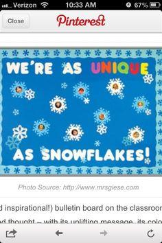 Snowflake bulletin board idea