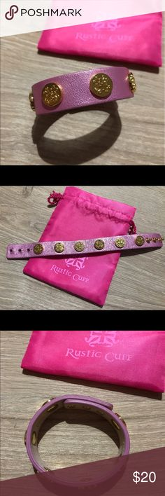 Rustic Cuff Pink/Gold Wide Meagen from COTM From Feb 2016 Cuff of the Month. Pink & Gold. Comes with pouch. Worn once. Perfect condition. Genuine Leather. Rustic Cuff Jewelry Bracelets