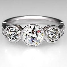 Vintage Bezel Set Three Stone Diamond Engagement Ring Platinum sku: wm9147  Only one available  $9,999.00