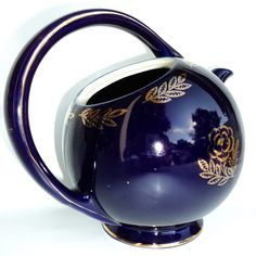 colbalt blue hall teapot gold trim flower art deco modern
