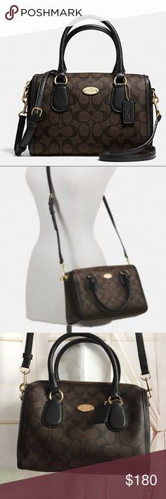 """NWT COACH SIGNATURE MINI BENNETT SATCHEL BROWN 100% authentic  No dust bag  Details Colors light gold brown and black  Signature coated canvas with patent leather trim  Inside zip and multifunction pockets  Zip-top closure, fabric lining  Handles with 4 1/2"""" drop  Longer strap for shoulder or crossbody wear  9 1/2"""" (L) x 6 1/2"""" (H) x 4 1/2"""" (W)  This is a signature product  📌No trades Coach Bags Satchels"""