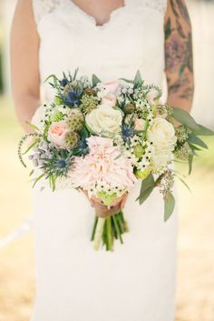 Sierra's Bridal Bouquet  Garden Roses, Scabiosa pods, Ornamental Kale, Dahlias, Thistle, Eucalyptus, Veronica, Silver Brunia, and Arabacum Star of Bethlehem! Floral arrangement by Hello, Gem! // Photo by Honey Honey Photography