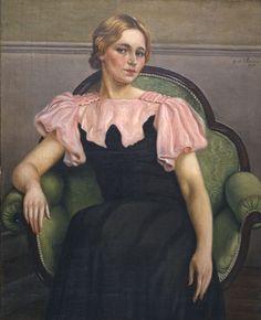 """Giorgio Chirico """"Retrato de Isa, vestido rosa y negro """" 1934"""