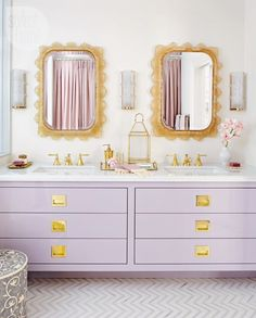 Bathroom Decor girly 23 Girly Chic Home Decor Ideas for a Ladylike Home - His and her bathroom sink with lilac painted drawers, + chic brass pulls and hardware. Painting Bathroom Cabinets, Bathroom Furniture, Bathroom Canvas, Bathroom Interior Design, Home Interior, Interior Walls, Modern Bathroom, Small Bathroom, Bathroom Vintage