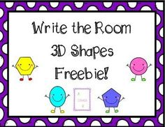 "This freebie includes 3D shape cards, a response sheet, and a graph/count follow up activity.Make sure to check out my ""2D & 3D Shape Write the Room Activity Pack""!"