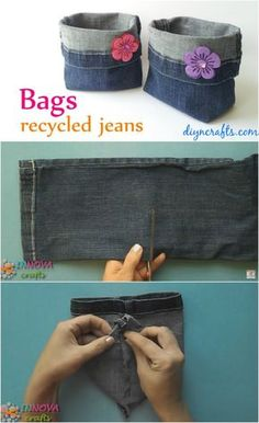How to Make Adorable Bags from Repurposed Jeans - DIY Clothes Crafts IDeen Jean Crafts, Denim Crafts, Diy Jeans, Diy Bags From Jeans, Diy Upcycling Jeans, Fabric Crafts, Sewing Crafts, Sewing Projects, Jean Diy