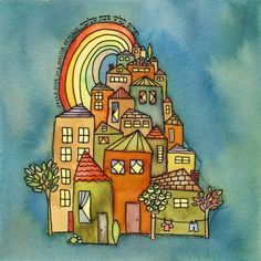 Tiny Village - spiritual watercolor print and verse for weddings, housewarmings and holidays