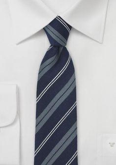 Krawatte schlank Seide Wolle marineblau